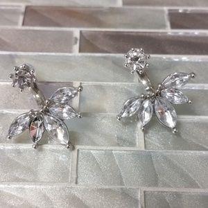 Lotus Flower Jacket & Stud Earrings Silver/White